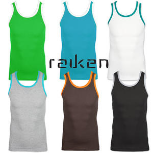 Raiken Basic Ribbed Slim Fit Sleveless Vest Top T-Shirt Mens Size S - XL