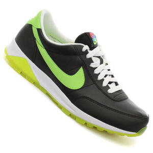 View Item Nike Oldham Leather Trainers Black/White/Lime Mens Size UK