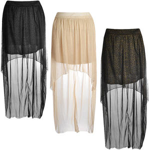 High Low Sparkle Shimmer Lurex Dip Back Skirt