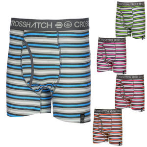 View Item Crosshatch Transmit Striped Boxer Shorts Trunks Underwear Mens Size S - XL