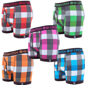 View Item Crosshatch Checklist Checkered Boxer Shorts Trunks Underwear Mens Size S - XL