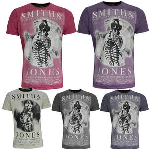 View Item Smith &amp; Jones Mens Crew Neck T-Shirt Claudius Vinyl Print Cotton Various Sizes