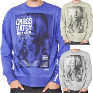 View Item Crosshatch Snarls Printed Crewneck Sweatshirt Top Jumper Mens Size
