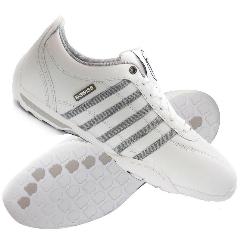 k swiss arvee 1 5 low leather trainers white gull grey navy mens size ebay. Black Bedroom Furniture Sets. Home Design Ideas