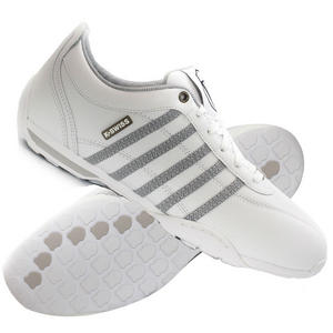 View Item K-Swiss Arvee 1.5 Low Leather Trainers White/Gull-Grey/Navy Mens Size