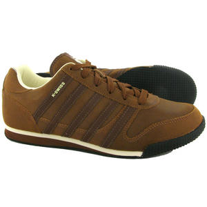 View Item K-Swiss Whitburn L Low Leather Trainers Sturdy Brown Mens Size 7 -12