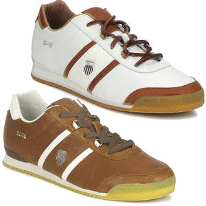 View Item K-Swiss SI-16 Low Leather Trainers Sturdy Brown &amp; White Mens Size