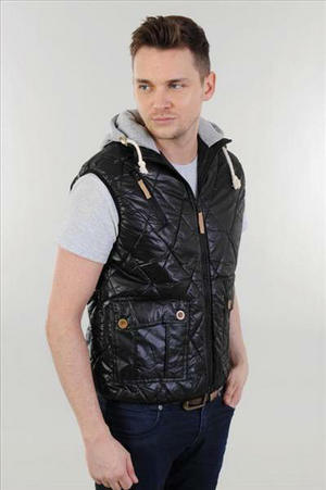 View Item Brave Soul Hunter Zip Up Quilted Padded Hooded Gilet Jacket Black Mens Size S-XL