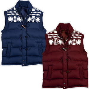 View Item Brave Soul Burnley Fairisle Toggle Quilted Padded Gilet Jacket Mens Size S-XL