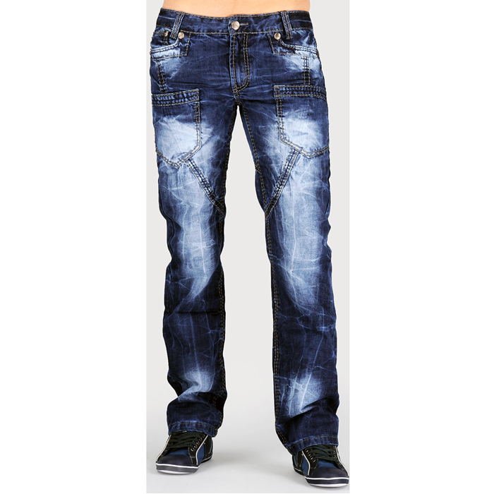 These Faded Glory men's Jeans have five pockets, three in the front and two in the back. They offer plenty of room for holding your wallet, keys, cell phone, a comb and other personal items. In addition, they have a zip-up front design with a single-button closure that lets you achieve a custom fit.