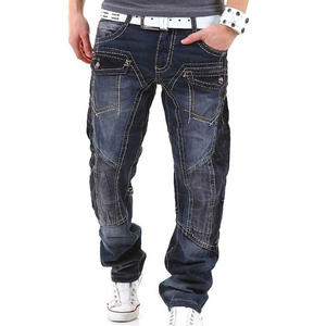 View Item Kosmo Lupo KM001 Thick Stiched Jeans Black Mens Waist Size W29 - W36