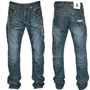 View Item Kosmo Lupo KM507 Double Stitch Designer Jeans Blue Mens Waist Size W30 - W36