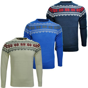 View Item Crosshatch Stord Fairisle Snowflake Pattern Jumper Knitted Top Mens Size S-XXL