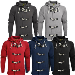 View Item Raiken Bailey Toggle Button Hooded Sweatshirt Top Jacket Slim Fit Mens Size S-XL