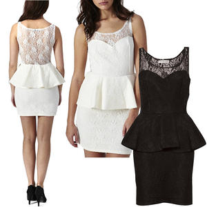View Item Lace Peplum Rare Sweetheart Scoop Bodycon Sleeveless Party Dress Womens Size