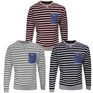 View Item Soulstar Hello Striped Jeans Pocket Crew Neck Sweatshirt Top Mens Size S M L XL
