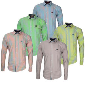 View Item Crosshatch Curlew Long Sleeve Stripe Classic Fit Casual Shirt Mens Size S M L XL