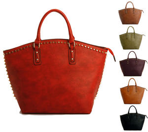 View Item Studded Oversized Womens Designer Leather Shopper Weekend Work Tote Shoulder Bag