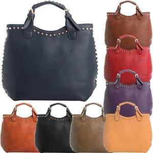 View Item Studded Large Leather Shopper Womens Designer Work Hobo Tote Shoulder Bag