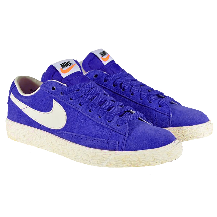 Nike Blazer Low Suede Vintage Sports Trainers Shoes Blue/Oatmeal