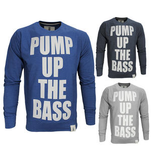 View Item Soulstar Pump Up The Bass Print Slogan Sweatshirt Top Jumper Mens Size S-XL
