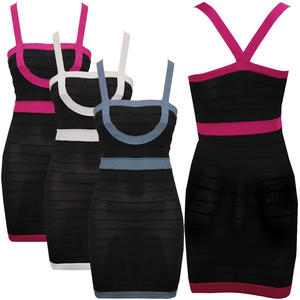 View Item Square Neck Panelled Bodycon Designer Bandage Party Dress Black Womens Size 8-12