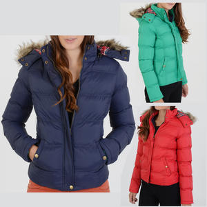Long Sleeve Fur Hood Bubble Padded Jacket Womens 