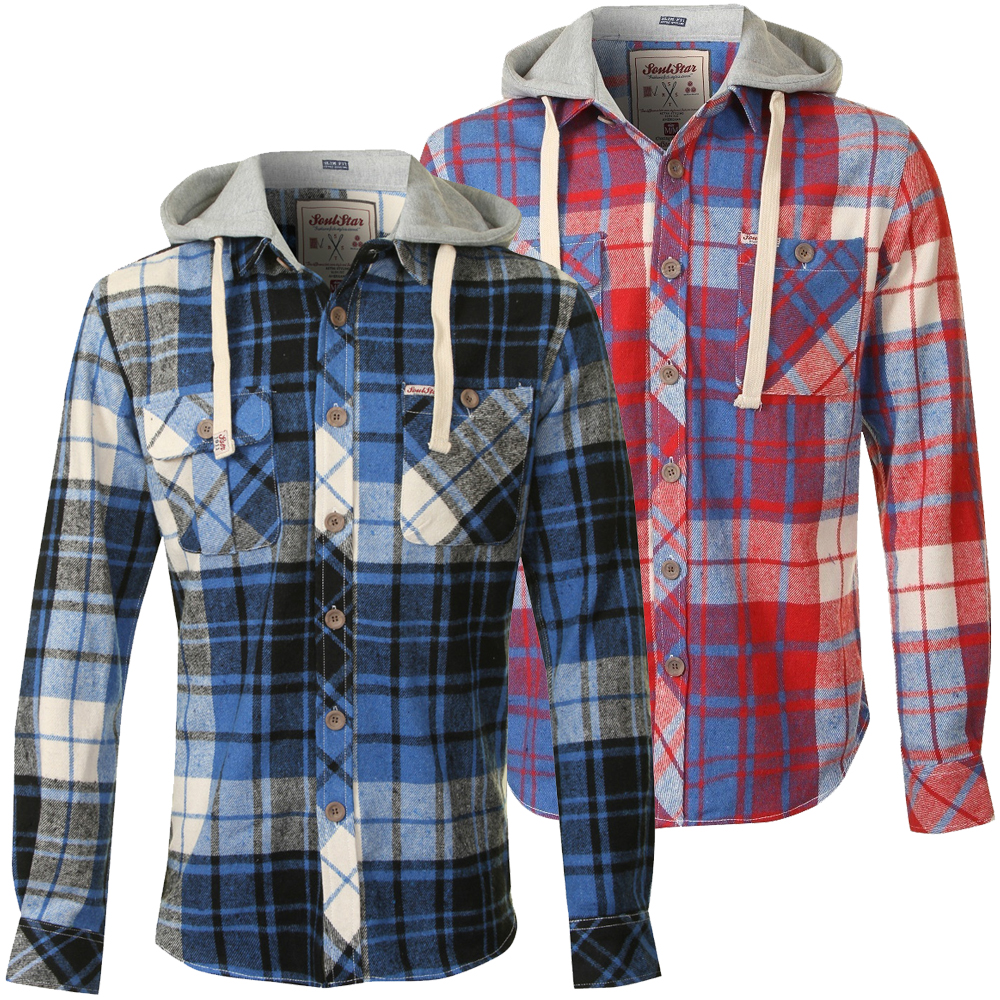 Soulstrar heavy flannel check jersey hood slim fit casual for Mens slim fit flannel shirt