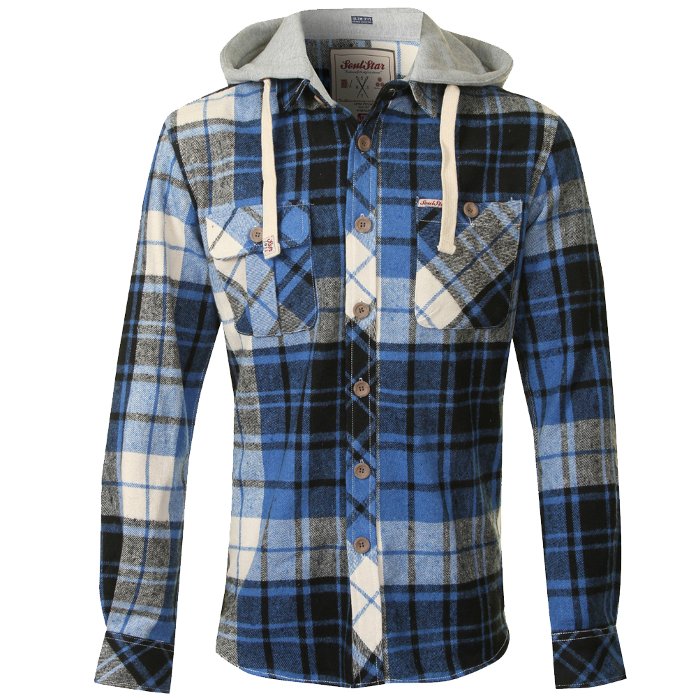 Soulstrar Heavy Flannel Check Jersey Hood Slim Fit Casual