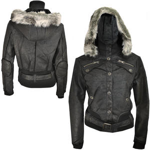 Aviator Distressed PVC Leather Collared Fur Hood Winter Coat Jacket Womens Size