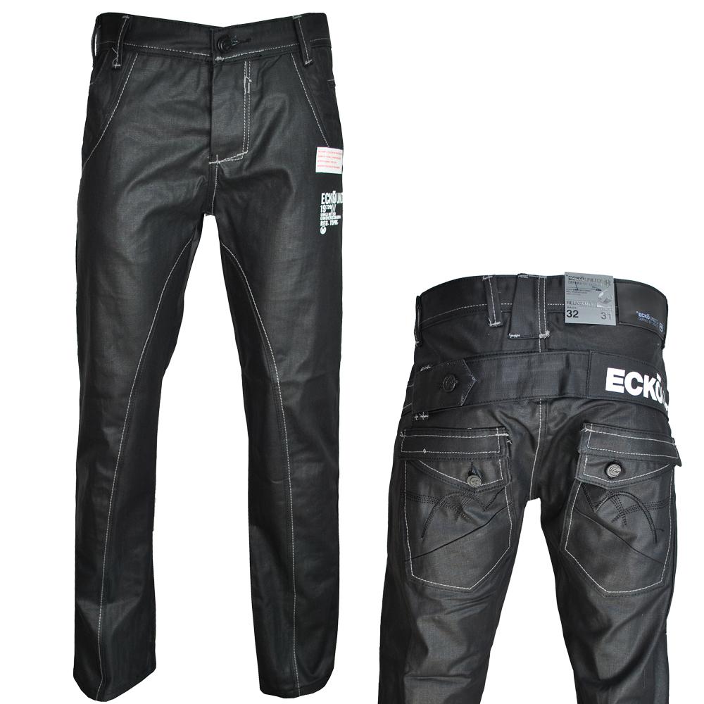 herren jeans ecko wachs beschichtet gerades bein gef rbt denim schwarz w30 w40 ebay. Black Bedroom Furniture Sets. Home Design Ideas