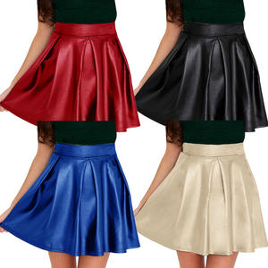 View Item Box Pleat Wet Leather Look Zip Skater Skirt