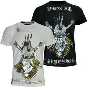 View Item Silver Tribal Skull Printed Front Back Studded Graphic T-Shirt Top Mens Size