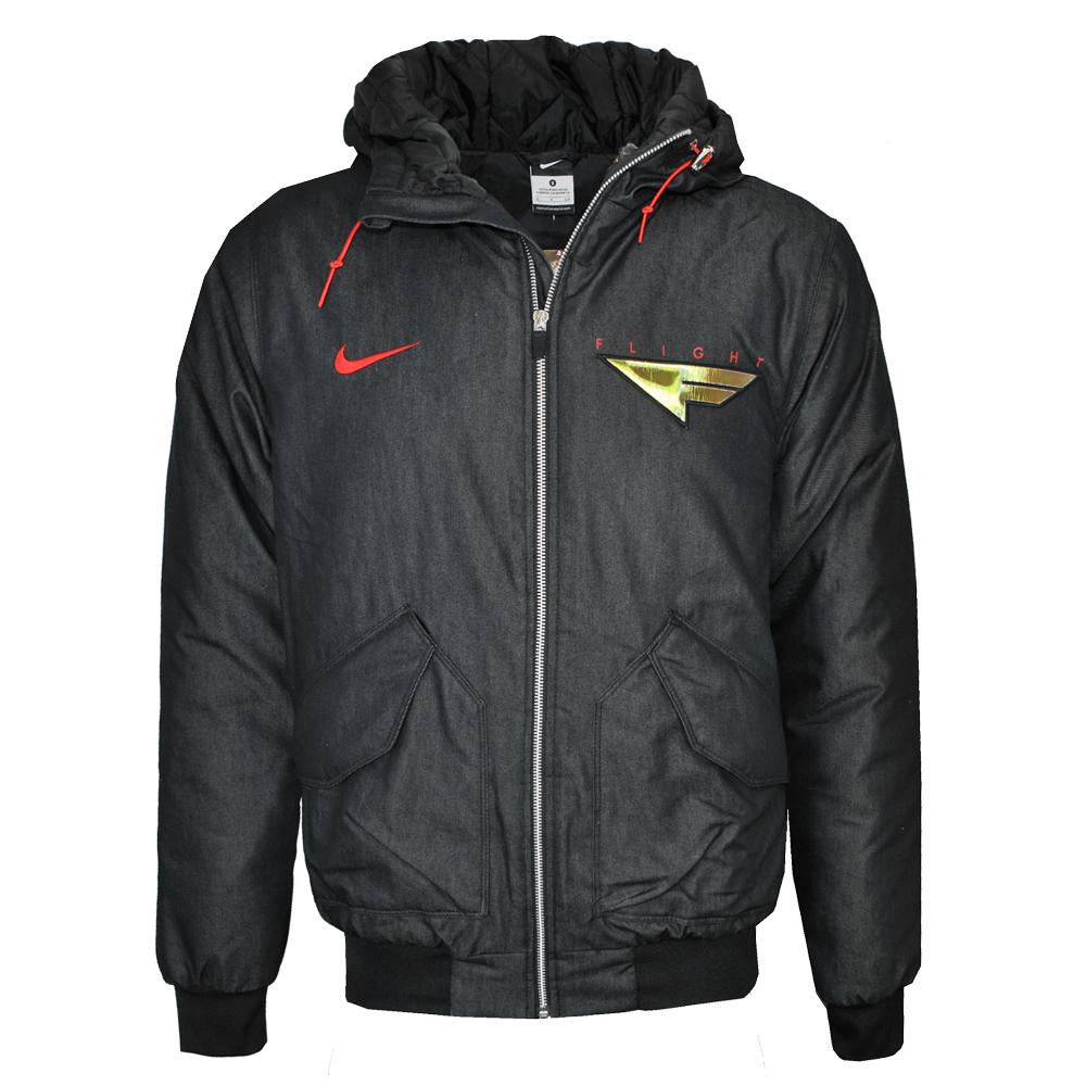 Nike Grind Flight Padded Hooded Winter Zip Up Coat Black