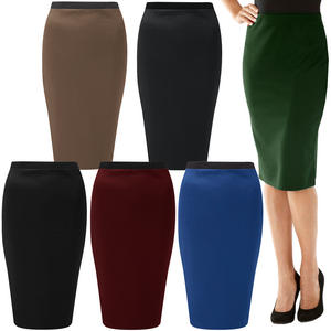 View Item Knee Length Plain Stretch Bodycon Pencil Office Work Sexy Long Skirt Womens Size