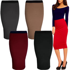 View Item High Waist Long Womens Pencil Midi Calf Skirt