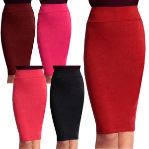 View Item High Waist Knee Length Stretch Bodycon Tube Pencil Long Midi Skirt Womens Size