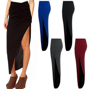 View Item Ruched High Side Split Womens Slit Maxi Skirt 