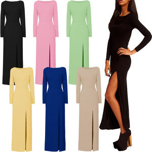 Long Sleeve Thigh Split Skirt Jersey Maxi Dress