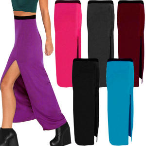 View Item Thigh Side Split Womens Long Slit Jersey Maxi Skirt 