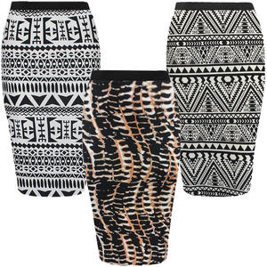 View Item Aztec Geometric Print Knee Length Pencil Skirt