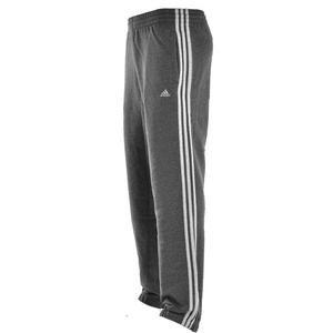 View Item Adidas 3 Stripe Fleece Sweat Pants/Bottoms/Trousers Charcoal Grey Mens Big Sizes