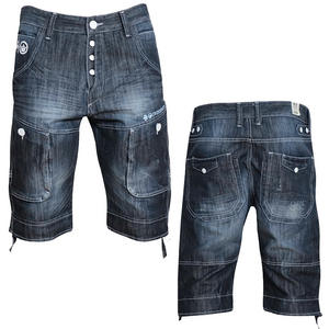 Crosshatch Logan Denim Shorts Dark Wash Blue Mens