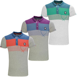 View Item Crosshatch Cromforth Block Striped Polo Shirt Mens
