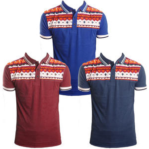 View Item Soulstar Boga Aztec Print Twin Tipped Tipped Pique Polo T-Shirt Mens Size S-XL