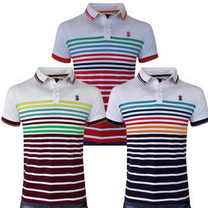 View Item Soulstar Hutto Twin Tipped Striped Pique Cotton Polo Shirt Mens Size S - XL