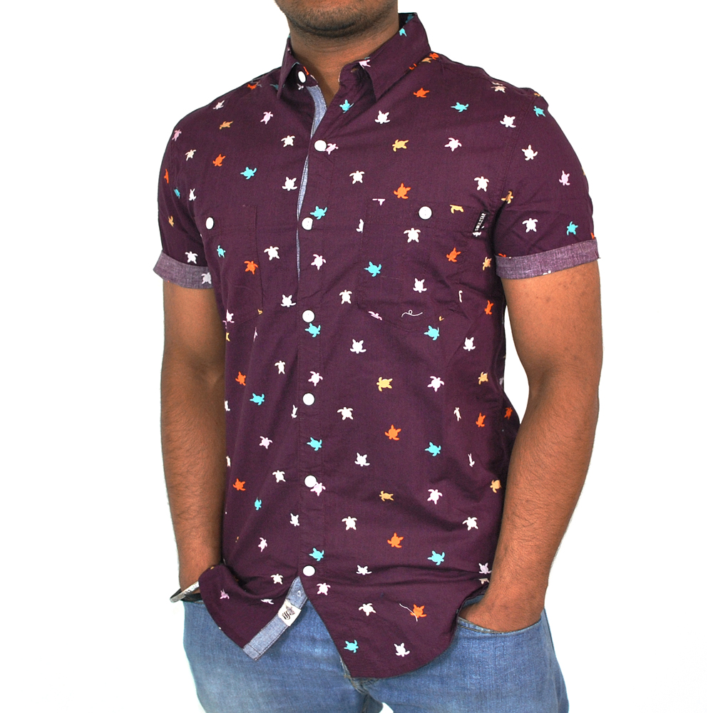 Short roll sleeve soulstar multi colour crayon turtle for Turtle shirts for men