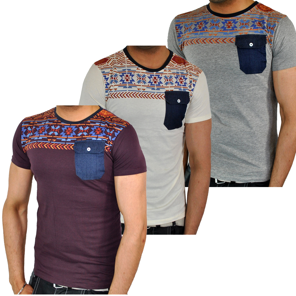 Soulstar Oliver Aztec Tribal Print Denim Pocket T Shirt