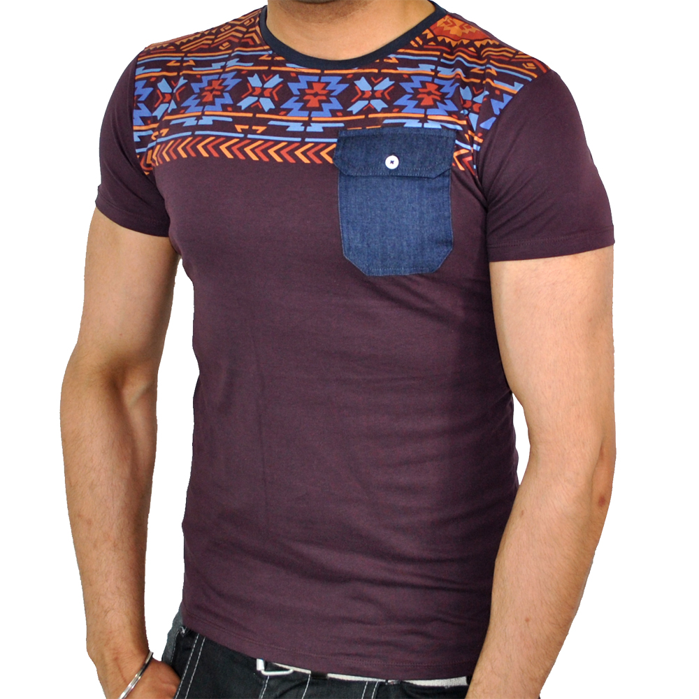 Soulstar oliver aztec tribal print denim pocket t shirt for Pocket t shirt printing