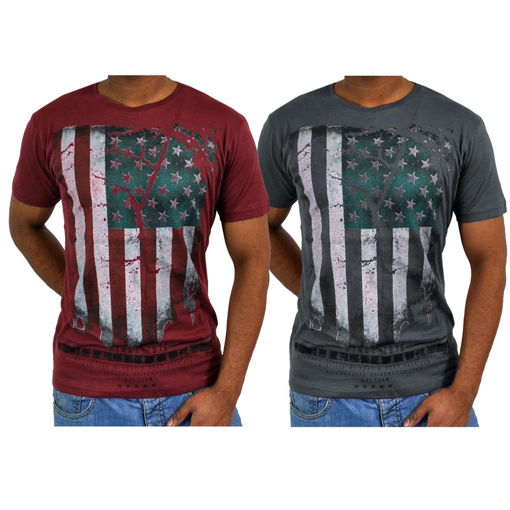 Soulstar distressed usa american flag print top t shirt for T shirt printing usa